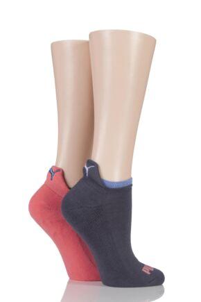 Ladies 2 Pair Puma Jet Cat Sneaker Running Socks Coral Combo 6-8