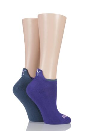 Ladies 2 Pair Puma Jet Cat Sneaker Running Socks Violet Combo 6-8