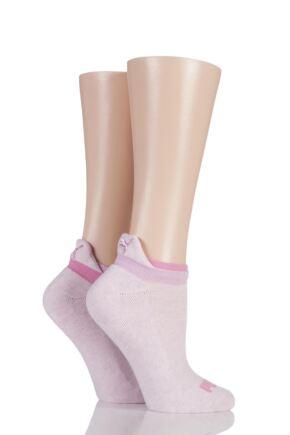 Ladies 2 Pair Puma Jet Cat Sneaker Running Socks Light Pink 6-8