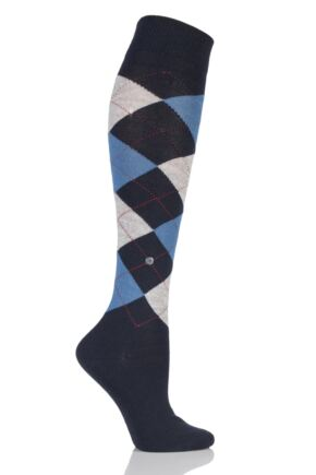 Ladies 1 Pair Burlington Marylebone Argyle Wool Knee High Socks