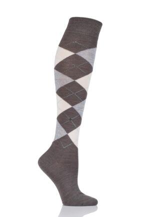 Ladies 1 Pair Burlington Marylebone Argyle Wool Knee High Socks Brown / Beige 36-41