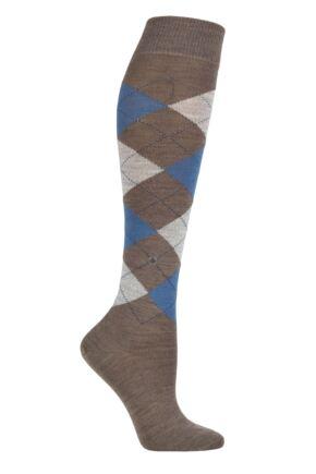 Ladies 1 Pair Burlington Marylebone Argyle Wool Knee High Socks Brown / Blue