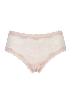 Ladies 1 Pair Kinky Knickers Nottingham Lace Classic Knicker In Oyster Oyster S