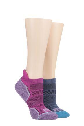 Mens and Ladies 2 Pair 1000 Mile Run Anklet Socks Hot Pink 3-5.5 Ladies