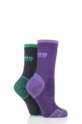Mens and Ladies 2 Pair 1000 Mile Single Layer Walking Socks Purple/Emerald 3-5.5 Ladies