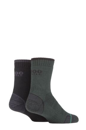 Mens and Ladies 2 Pair 1000 Mile Combat Socks Green / Charcoal 12-14