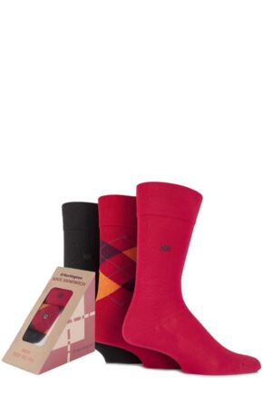 Mens 3 Pair Burlington Sandwich Gift Boxed Argyle and Plain Feet Food Socks Red 40-46