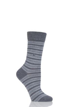 Ladies 1 Pair Burlington Seaford Extra Soft Mixed Stripe Socks Dark Grey