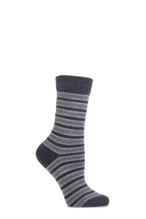 Ladies 1 Pair Burlington Seaford Extra Soft Mixed Stripe Socks 25% OFF Dark Grey