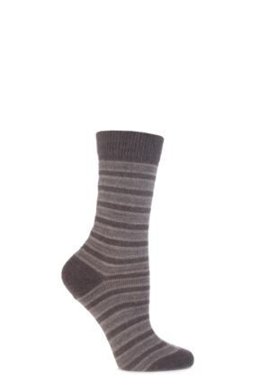 Ladies 1 Pair Burlington Seaford Extra Soft Mixed Stripe Socks