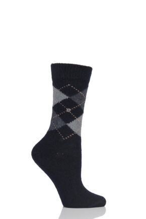 Ladies 1 Pair Burlington Whitby Extra Soft Argyle Socks Black / Grey / Dark Grey
