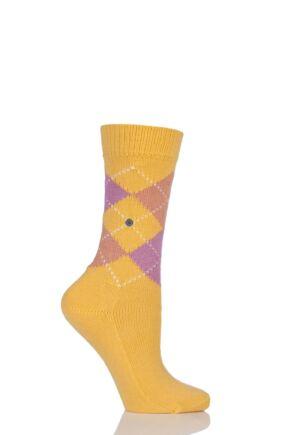 Ladies 1 Pair Burlington Whitby Extra Soft Argyle Socks Yellow / Pinks 36-41