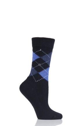 Ladies 1 Pair Burlington Whitby Extra Soft Argyle Socks