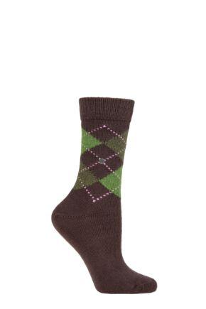 Ladies 1 Pair Burlington Whitby Extra Soft Argyle Socks Brown / Green 3.5-7 Ladies