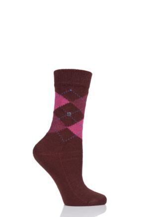 Ladies 1 Pair Burlington Whitby Extra Soft Argyle Socks Burgandy 3.5-7 Ladies