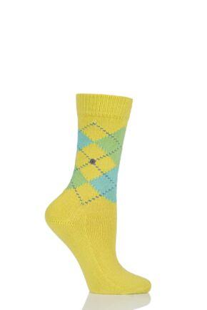 Ladies 1 Pair Burlington Whitby Extra Soft Argyle Socks Bright Green 36-41