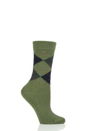 Ladies 1 Pair Burlington Whitby Extra Soft Argyle Socks Green / Navy 3.5-7 Ladies