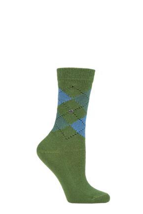 Ladies 1 Pair Burlington Whitby Extra Soft Argyle Socks Green / Navy 3.5-7 Ladies
