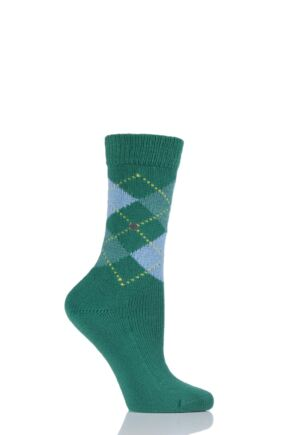 Ladies 1 Pair Burlington Whitby Extra Soft Argyle Socks Greens 36-41