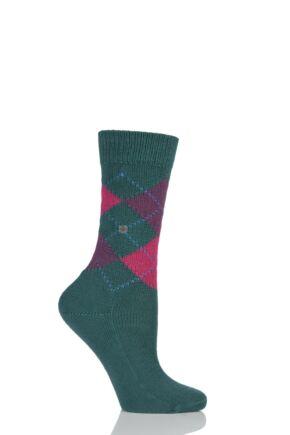 Ladies 1 Pair Burlington Whitby Extra Soft Argyle Socks Green / Pink 36-41