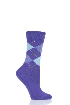 Ladies 1 Pair Burlington Whitby Extra Soft Argyle Socks Purple / Blue 3.5-7 Ladies