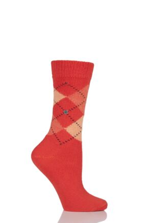 Ladies 1 Pair Burlington Whitby Extra Soft Argyle Socks Orange 36-41