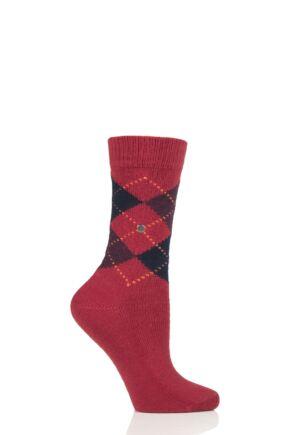 Ladies 1 Pair Burlington Whitby Extra Soft Argyle Socks Red / Navy 3.5-7 Ladies