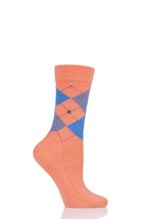 Ladies 1 Pair Burlington Whitby Extra Soft Argyle Socks Orange 3.5-7 Ladies
