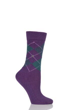 Ladies 1 Pair Burlington Whitby Extra Soft Argyle Socks Purple / Green 36-41
