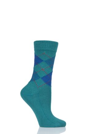 Ladies 1 Pair Burlington Whitby Extra Soft Argyle Socks Green 2 3.5-7 Ladies