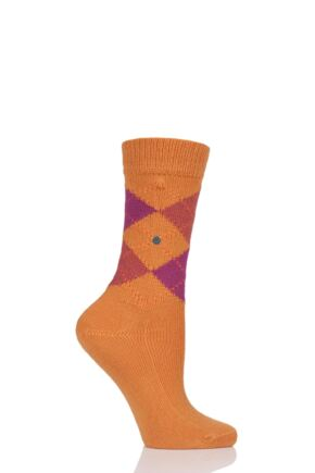 Ladies 1 Pair Burlington Whitby Extra Soft Argyle Socks Orange 2 3.5-7 Ladies