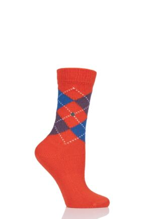 Ladies 1 Pair Burlington Whitby Extra Soft Argyle Socks Red Mix 3.5-7 Ladies