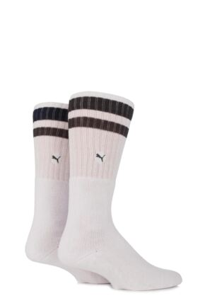Mens and Ladies 2 Pair Puma Heritage Double Striped Crew Sports Socks Peat 2-5.5