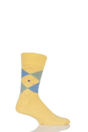 Mens 1 Pair Burlington Preston Extra Soft Feeling Argyle Socks Yellow / Blue 40-46