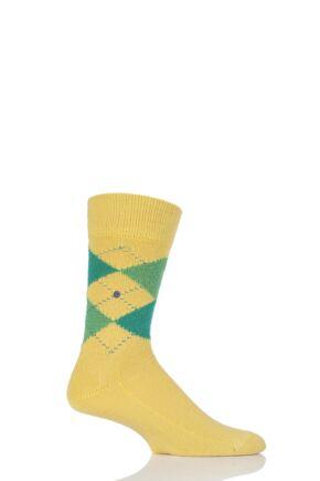 Mens 1 Pair Burlington Preston Extra Soft Feeling Argyle Socks Yellow / Green 46-50