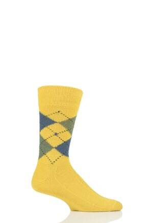Mens 1 Pair Burlington Preston Extra Soft Feeling Argyle Socks Yellow 6.5-11 Mens