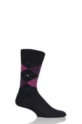 Mens 1 Pair Burlington Preston Extra Soft Feeling Argyle Socks Black / Purple / Pink 40-46