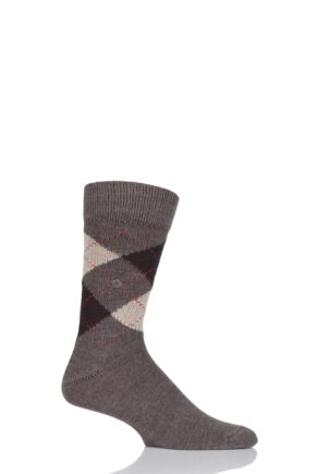 Mens 1 Pair Burlington Preston Extra Soft Feeling Argyle Socks Brown / Beige 40-46