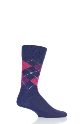 Mens 1 Pair Burlington Preston Extra Soft Feeling Argyle Socks Dark Purple 6.5-11 Mens