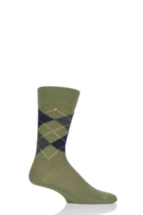 Mens 1 Pair Burlington Preston Extra Soft Feeling Argyle Socks Olive 6.5-11 Mens