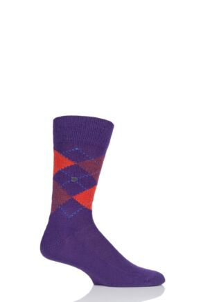 Mens 1 Pair Burlington Preston Extra Soft Feeling Argyle Socks Purple 6.5-11 Mens