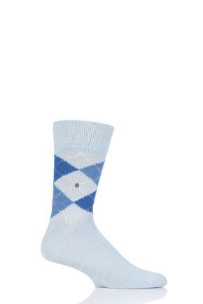 Mens 1 Pair Burlington Preston Extra Soft Feeling Argyle Socks Turquoise 6.5-11 Mens