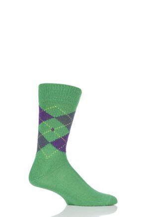 Mens 1 Pair Burlington Preston Extra Soft Feeling Argyle Socks Green / Purple 40-46