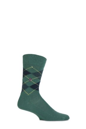 Mens 1 Pair Burlington Preston Extra Soft Feeling Argyle Socks Golf 46-50