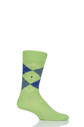 Mens 1 Pair Burlington Preston Extra Soft Feeling Argyle Socks Green (2) 40-46