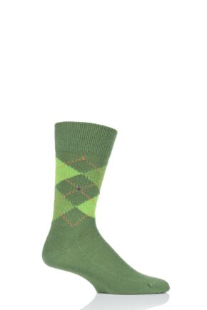 Mens 1 Pair Burlington Preston Extra Soft Feeling Argyle Socks Dark Green 40-46