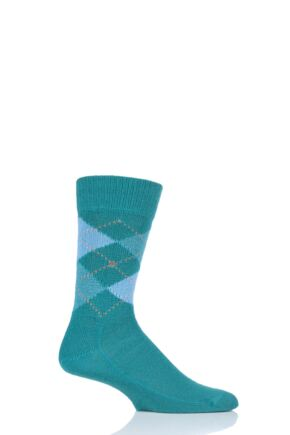 Mens 1 Pair Burlington Preston Extra Soft Feeling Argyle Socks Teal 6.5-11 Mens