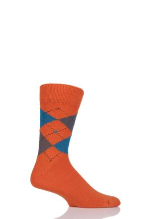 Mens 1 Pair Burlington Preston Extra Soft Feeling Argyle Socks Orange (2) 40-46