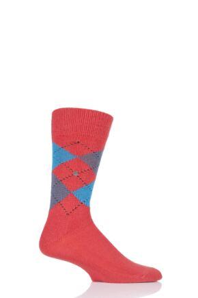 Mens 1 Pair Burlington Preston Extra Soft Feeling Argyle Socks Red 6.5-11 Mens