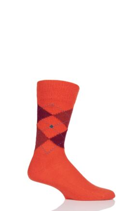 Mens 1 Pair Burlington Preston Extra Soft Feeling Argyle Socks Orange 6.5-11 Mens
